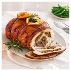 Ballotine of turkey, chicken and duck with a rich fruit stuffing -
