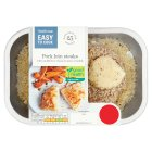 Waitrose Easy To Cook 2 Pork loin medallions with cauliflower cheese melt & onion crumb - 300g