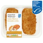 essential Waitrose 2 hake fillets in breadcrumbs - 345g