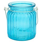 Outdoors ribbed blue tealight holder
