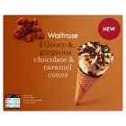 Waitrose chocolate & caramel cones - 4x120ml