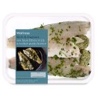 Waitrose 2 sea bass fillets with rocket pesto butter - 205g