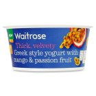 Waitrose Greek style yogurt with mango & passion fruit - 150g