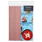 Waitrose pirate spot & stripe giftwrap, pack of 2 sheets and 2 tags - 2s