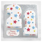 21st Birthday stars and dots cake - each