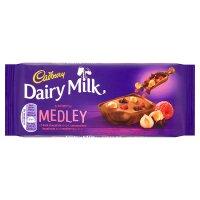 Cadbury Dairy Milk medley dark choc chip hazelnut & raspberry chocolate bar