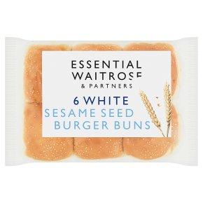 essential Waitrose White Sesame Seed Burger Buns