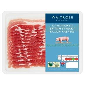 British unsmoked streaky bacon, 12 rashers