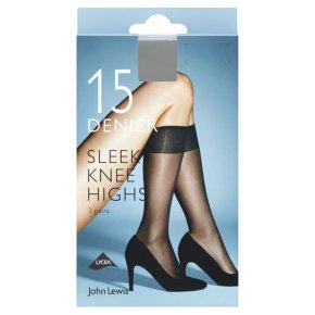 John Lewis 15 denier sleek nude knee high tights, pack of 3