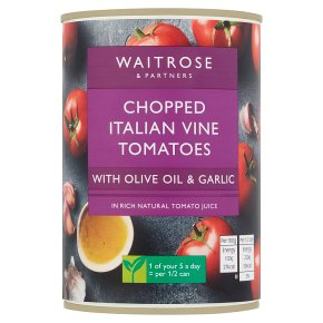 Waitrose tinned chopped tomatoes with olive oil & garlic