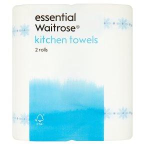 essential Waitrose kitchen towels, gingham design - 2 rolls of 55 sheets