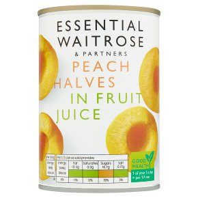 essential Waitrose Peach Halves in Grape Juice