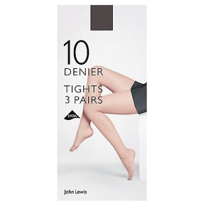 John Lewis 10 denier nearly black tights, pack of 3 (large)