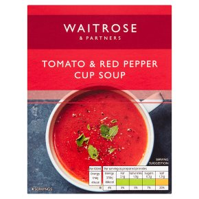 Waitrose Thick & Creamy tomato pepper & herb soup in a cup, 4 servings