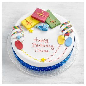 Waitrose parcels and streamers Cake 25cm