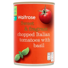 Waitrose tinned chopped tomatoes with chopped basil