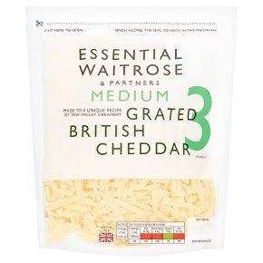essential Waitrose English medium grated Cheddar cheese, strength 3