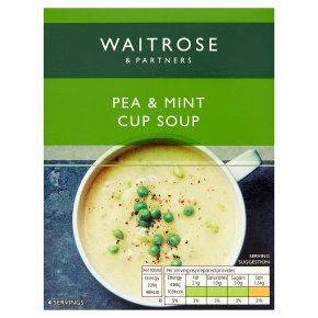 Waitrose Thick & Creamy pea & mint soup in a cup, 4 servings