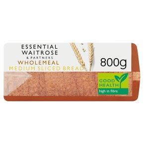 essential Waitrose wholemeal medium sliced bread