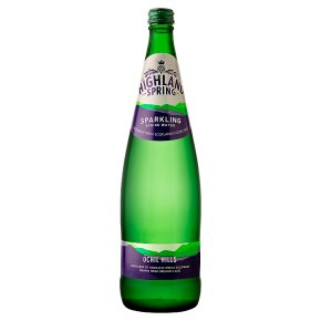 Highland Spring sparkling water glass bottle