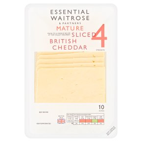 Essential Waitrose 10 slices mature 4 sliced Cheddar 250g