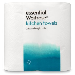 essential Waitrose extra length kitchen towels - 2 rolls