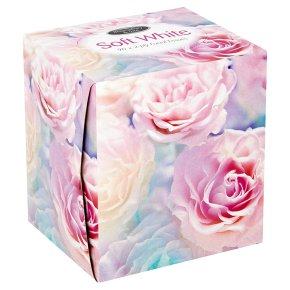 Soft white facial tissues