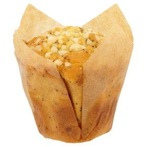 Iced orange, lemon & poppy seed muffin