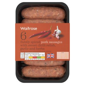 Waitrose 6 British Pork Sausages With Sweet Chilli Relish Waitrose