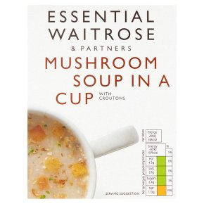 essential Waitrose mushroom soup in a cup with croutons, 4 servings