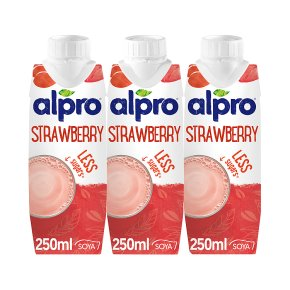 Alpro longlife dairy free soya strawberry drink, pack of 3