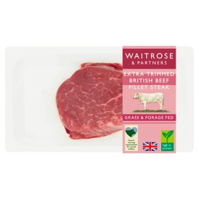 Waitrose extra trimmed British beef fillet steak