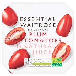 essential Waitrose plum tomatoes in natural juice, 4 pack