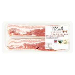 essential Waitrose smoked British streaky bacon, 12 rashers