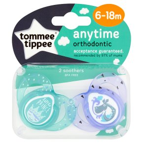Tommee Tippee 6-18month anytime boy soothers, pack of 2, assorted
