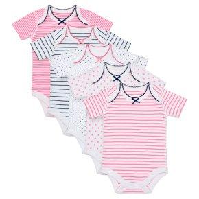 Waitrose 5PK Star&Stripe Bodysuits 12-18M