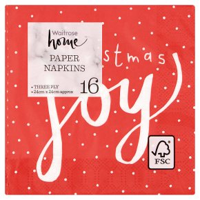 Waitrose Christmas Red Joy Napkins 24cm x 24cm