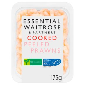 essential Waitrose cooked and peeled prawns
