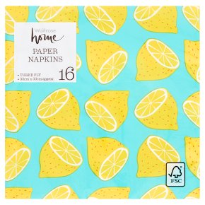 Waitrose Home Lemon Napkins 33x33cm