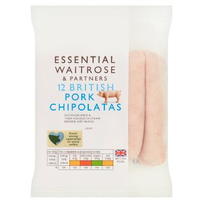 essential Waitrose British pork 12 chipolatas