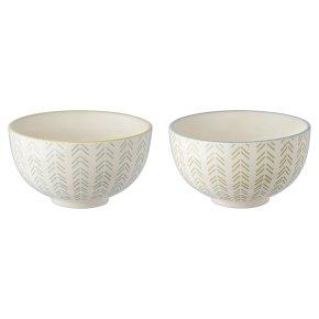 Oriental Bowls Nibble Grey & Green Arrows