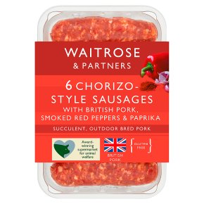 Waitrose 6 British chorizo pork sausages