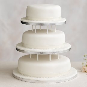 3 Tier Wedding Cake.Soft Iced 3 Tier White Wedding Cake With Dowling Fruit All Tiers