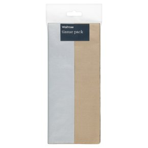 Waitrose gold & silver 50 x 66cm tissue paper, 8 sheets