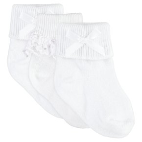 Waitrose white lace & bow baby socks 5 pack