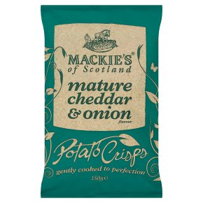 Mackie's potato crisps cheddar & onion