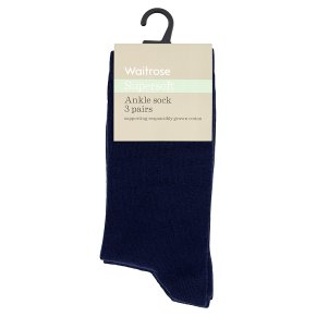 Waitrose Supersoft Ankle Socks Navy