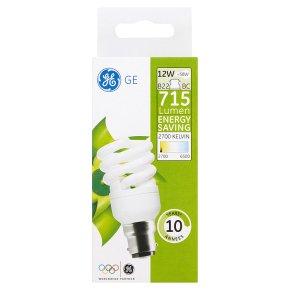 GE energy saving spiral 715 lumen 12W B22 BC