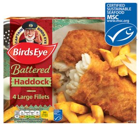Birds Eye 4 Battered Haddock Fish Fillets