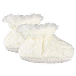 Waitrose Knitted Cream Booties 6-12M